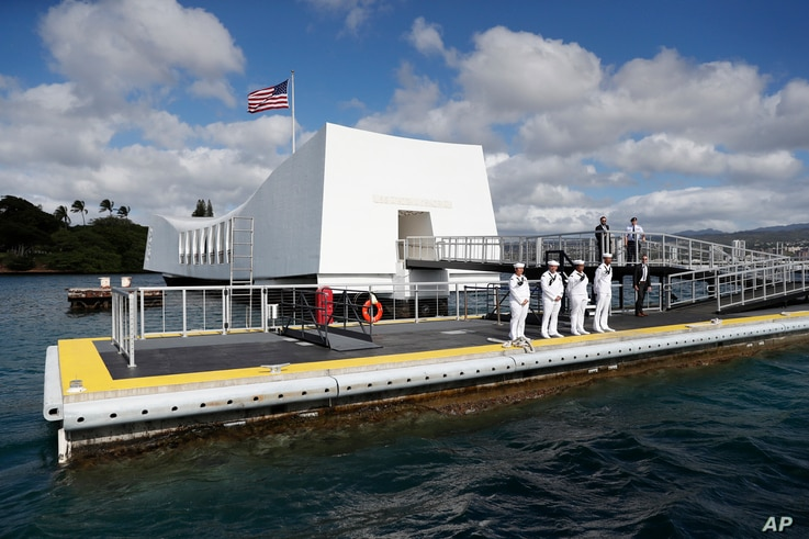 FILE - USS Arizona Memorial, part of the World War II Valor in the Pacific National Monument, in Joint Base Pearl Harbor-Hickam, Hawaii, adjacent to Honolulu, Hawaii.