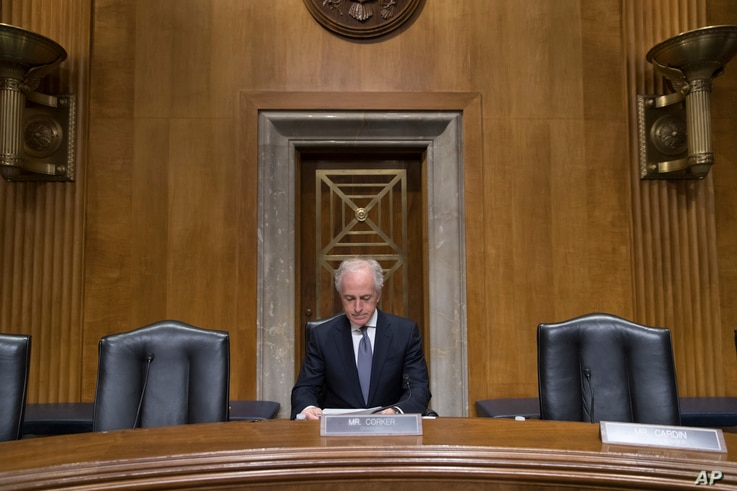 FILE - Republican Sen. Bob Corker, chairman of the Senate Foreign Relations Committee, arrives to lead a hearing on Capitol Hill in Washington, Feb. 9, 2017.