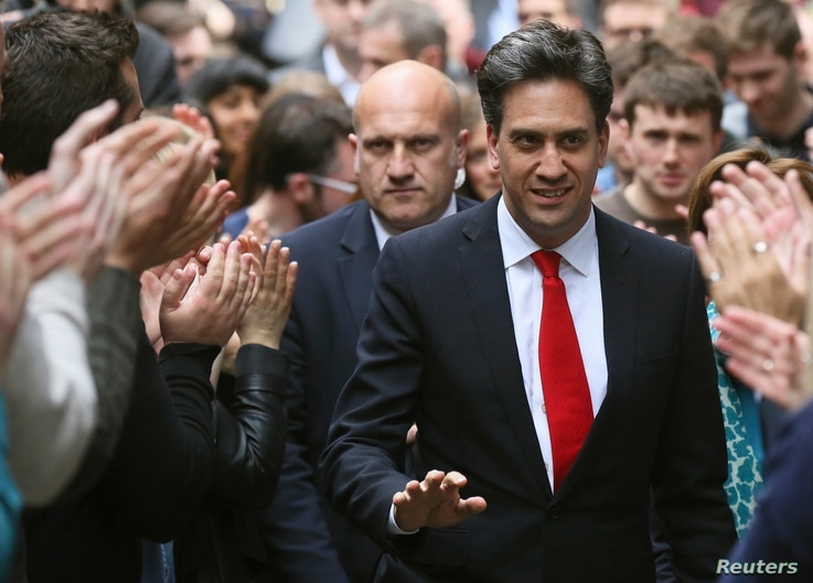 Britain's Labour Party leader Ed Miliband arrives at the party's headquarters in London, Britain, May 8, 2015.