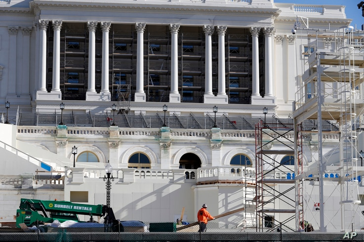 The West Front of the Capitol is seen as work continues on the stand for the inauguration of President-elect Donald Trump in Washington, Dec. 28, 2016.