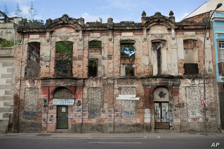 Remnants of a house that was once used a slave deposit in the late 18th century stands in the port area in Rio de Janeiro, Brazil, July 9, 2017.