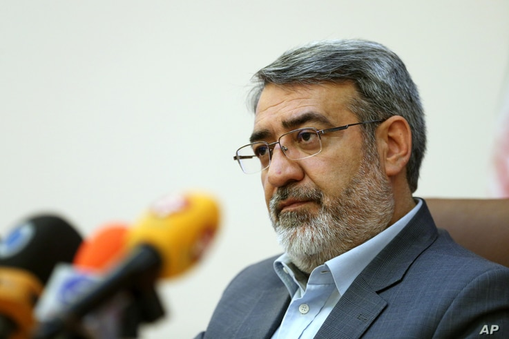 Iranian Interior Minister Abdolreza Rahmani Fazli speaks during a press conference in Tehran, Iran,  April 13, 2015.