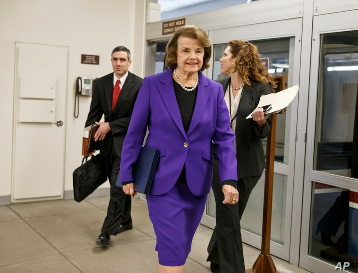 Senate Intelligence Committee Chair Sen. Dianne Feinstein, D-Calif. arrives to release a report on the CIA's harsh interrogation techniques at secret overseas facilities after the 9/11 terror attacks, Tuesday, Dec. 9, 2014.