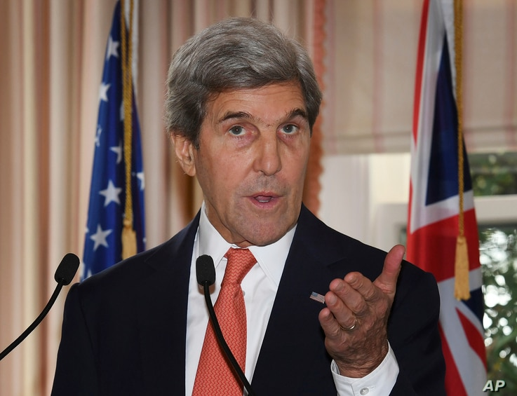 U.S. Secretary of State John Kerry speaks during a press conference with New Zealand Prime Minister John Key at Premier House in Wellington, New Zealand, Nov. 13, 2016.