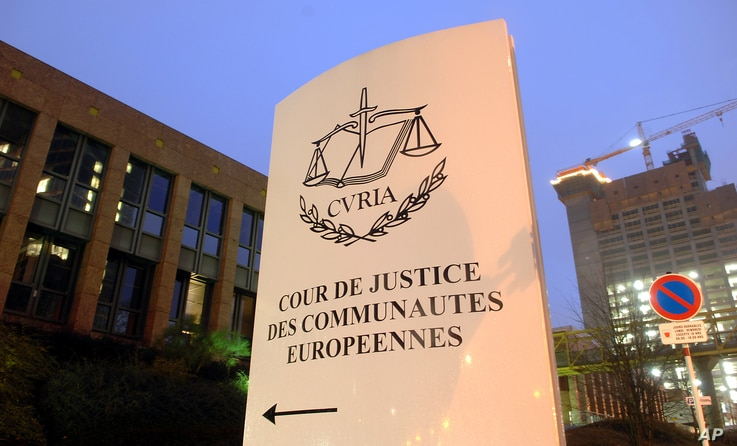 FILE - The European Court of Justice in Luxembourg.