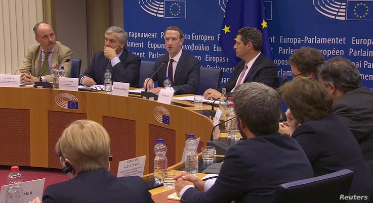 FILE - Facebook's CEO Mark Zuckerberg answers questions about the improper use of millions of users' data by a political consultancy, at the European Parliament in Brussels, Belgium, in this still image taken from Reuters TV, May 22, 2018.