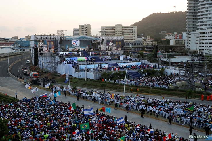 Pope Francis attends the opening ceremony for World Youth Day at the Coastal Beltway in Panama City, Panama, Jan.  24, 2019.