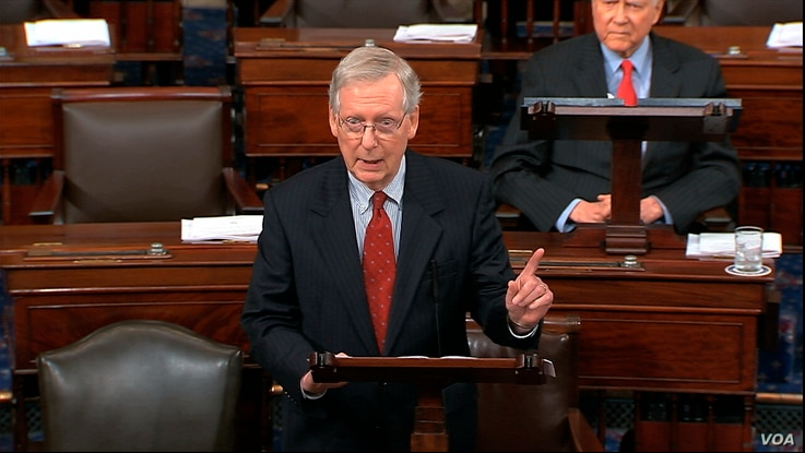 In this image from Senate Television, Majority Leader Mitch McConnell of Ky., speaks about Supreme Court nominee  Judge Brett Kavanaugh on the floor of the Senate, Sept. 24, 2018, on Capitol Hill in Washington.