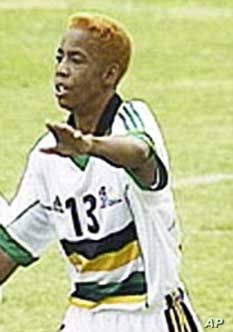 Eudy Simelane, seen here in action for South Africa's national women's football team, was raped and murdered near the South African township of Vosloorus.  She was one of the first women to live openly as a lesbian in the area