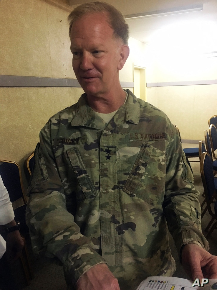 Maj. Gen. Marcus Hicks, U.S. military's special operations commander in Africa, is interviewed by the Associated Press in Niamey, Niger, April 11, 2018.
