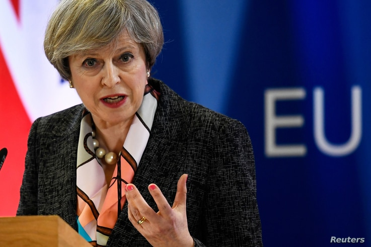Britain's Prime Minister Theresa May attends a news conference during an EU summit in Brussels, Belgium, March 9, 2017.