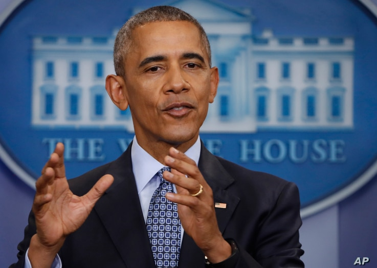 President Barack Obama speaks during his final presidential news conference in the briefing room of the White House in Washington, Jan. 18 2017.