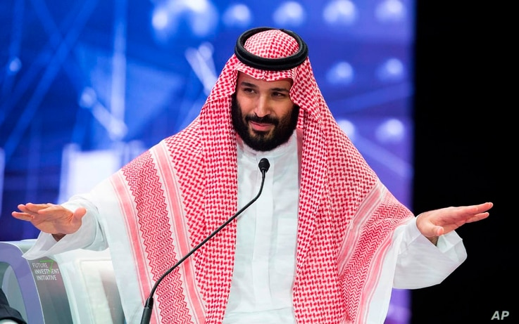 In this photo released by Saudi Press Agency, SPA, Saudi Crown Prince, Mohammed bin Salman addresses the Future Investment Initiative conference, in Riyadh, Saudi Arabia, Oct. 24, 2018.