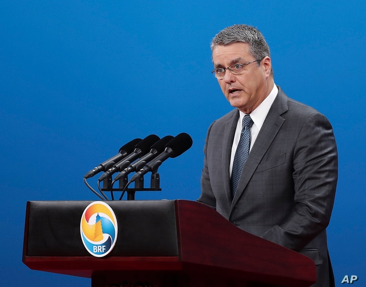 Director-General of the World Trade Organization Roberto Azevedo delivers his speech during the Belt and Road Forum for International Cooperation in Beijing, May 14, 2017.