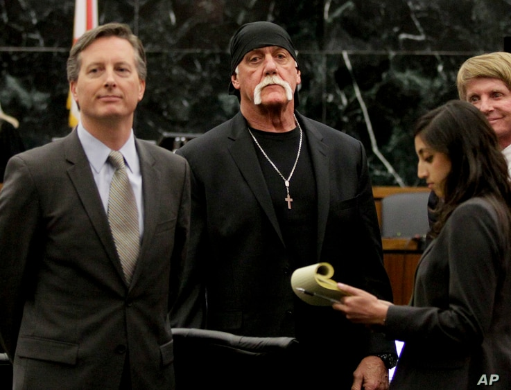 In this March 21, 2016 photo, Hulk Hogan, whose given name is Terry Bollea, center, looks on in court moments after a jury returned its decision in St. Petersburg, Fla. (AP)