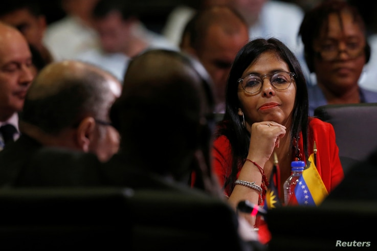 Venezuelan Foreign Minister Delcy Rodriguez looks on as she listens during the OAS 47th General Assembly in Cancun, Mexico, June 20, 2017.