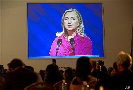 U.S. Secretary of State Hillary Rodham Clinton delivers the keynote address during the Fourth High Level Forum on Aid Effectiveness in Busan, South Korea.