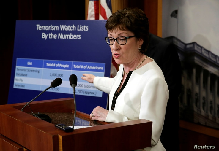 Senator Susan Collins, a Maine Republican, speaks at a news conference on Capitol Hill in Washington regarding a compromise proposal on gun control measures, June 21, 2016. Collins was the lead author of the legislation.