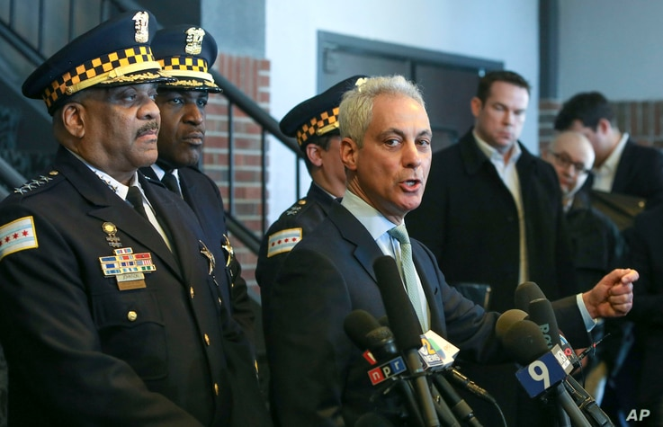 """Chicago Mayor Rahm Emanuel, right, and Chicago Police Superintendent Eddie Johnson appear at a news conference in Chicago, March 26, 2019, after prosecutors abruptly dropped all charges against """"Empire"""" actor Jussie Smollett."""