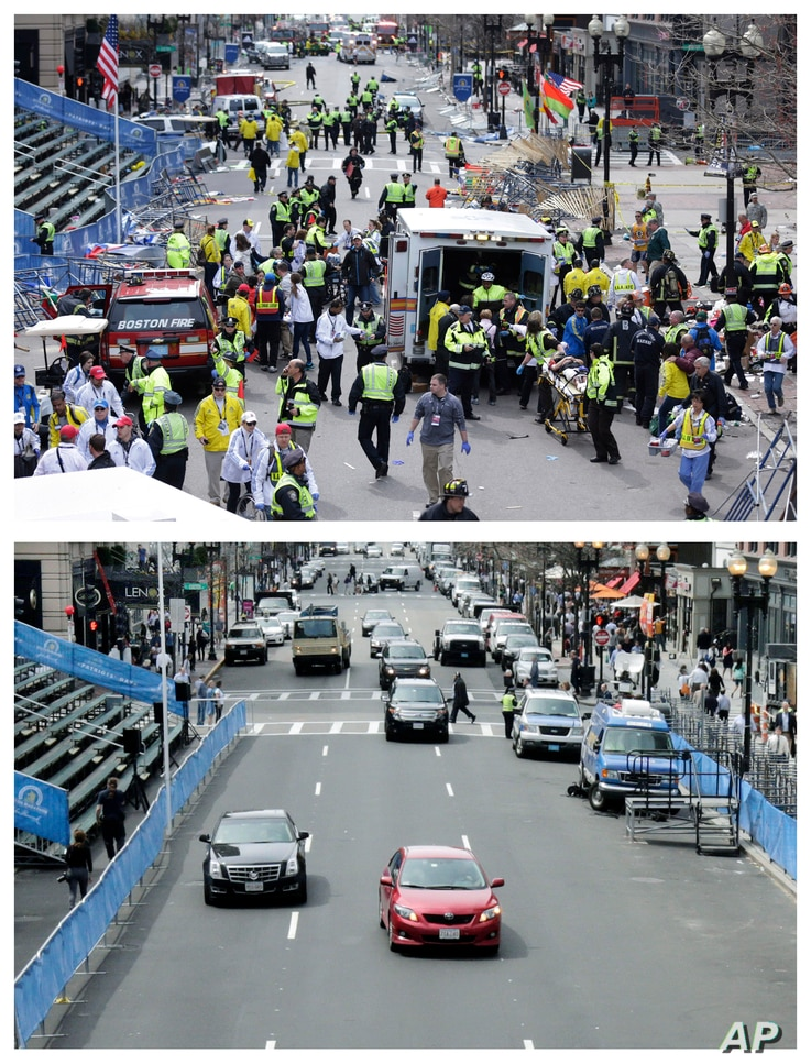 This combination of April 15, 2013 and April 14, 2014 photos shows medical workers aiding injured people on Boylston Street near the finish line of the 2013 Boston Marathon following two bomb explosions, and nearly a year later traffic flowing on the...