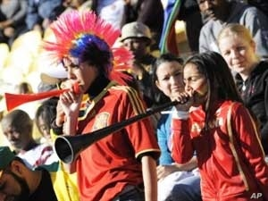 Not all foreign football supporters loathe the vuvuzela. Here, two young Spanish fans blow vuvuzelas at last year's Confederation Cup in South Africa