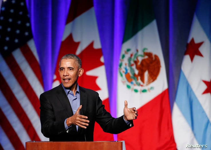 Former U.S. President Barack Obama speaks during the North American Climate Summit in Chicago, Illinois, Dec. 5, 2017.