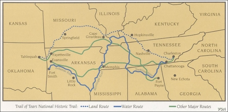 "Map of the 1838-1839 Cherokee ""Trail of Tears"" along which Cherokee were removed to present-day Oklahoma."