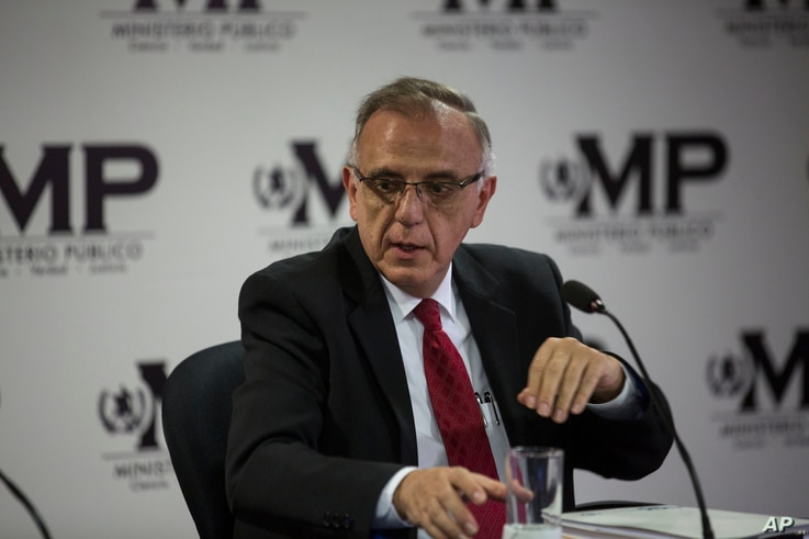 Ivan Velasquez, commissioner of the U.N. International Commission Against Impunity takes part in a news conference in Guatemala City,  April 19, 2018.