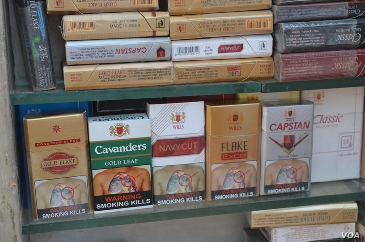Warnings presently cover 40 percent of the front of a cigarette pack (A. Pasricha/VOA)