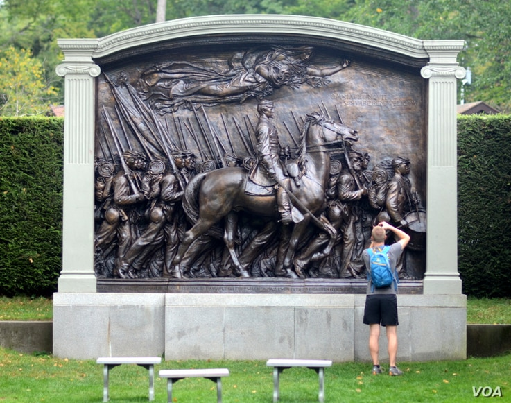 The Shaw Memorial, at the historic home of sculptor Augustus Saint-Gaudens, is considered by some to be America's greatest public monument. It is one of many of his works displayed in the gardens around his New Hampshire home.