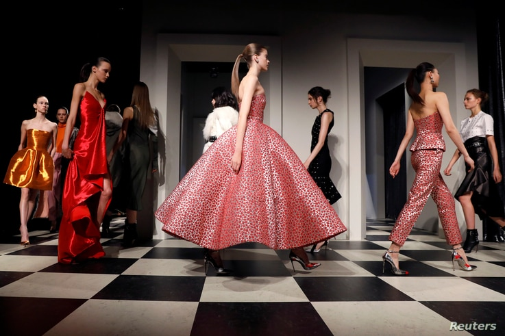 Models present creations during the Monse and Oscar de la Renta Autumn/Winter 2017 collection during New York Fashion Week in the Manhattan borough of New York, U.S., February 13, 2017.