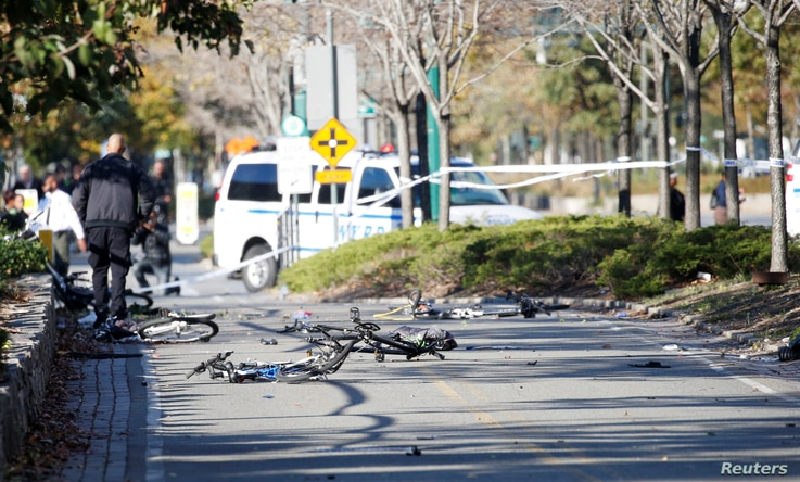 Multiple bikes are crushed along a bike path in lower Manhattan in New York, NY, Oct. 31, 2017.