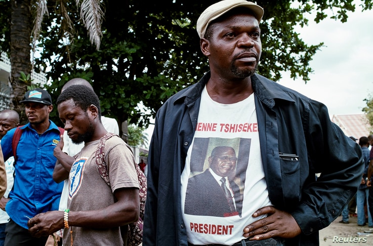 Supporters of Congolese opposition leader Etienne Tshisekedi gather outside his residence in Kinshasa, Feb. 2, 2017.
