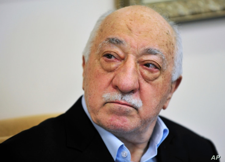FILE -Islamic cleric Fethullah Gulen speaks to members of the media at his compound, in Saylorsburg, Pa., July 2016.