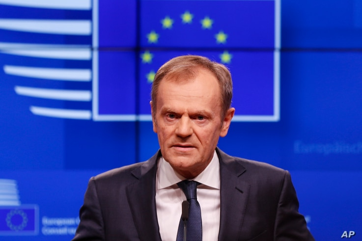 European Council President Donald Tusk speaks during a media conference on Brexit at the Europa building in Brussels, March 20, 2019.