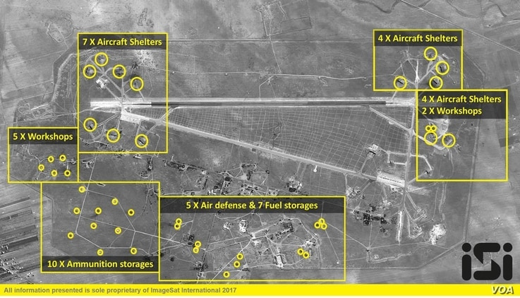 A detailed graphic of the targets at al-Shayrat airfield hit during the U.S. strike with 59 Tomahawk cruise missiles. (ImageSat International)