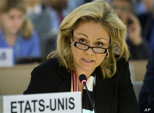 Ambassador Eileen Chamberlain Donahoe, the United States Representative to the U.N. Human Rights Council during the 13th session of the Human Rights Council at the United Nations headquarters in Geneva, Switzerland, Wednesday, March 24, 2010. The U.N...
