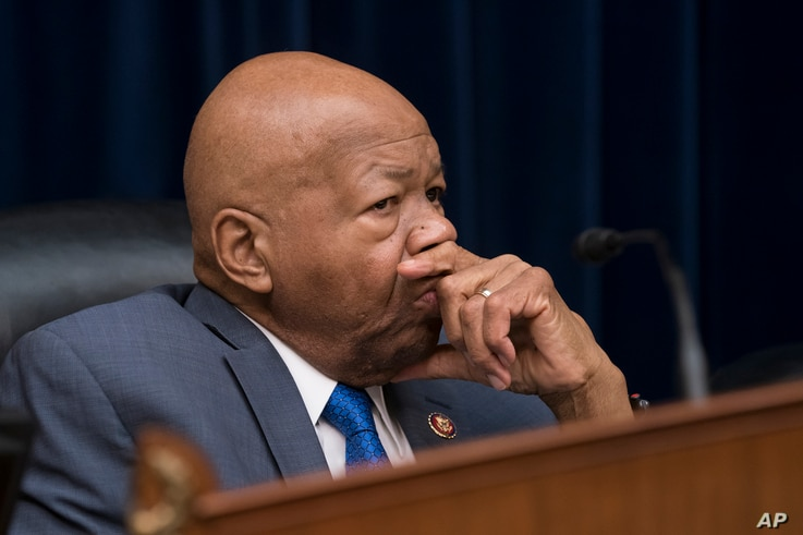 Rep. Elijah E. Cummings, the chairman of the Committee on Oversight and Reform, presides over the last hour of testimony by Michael Cohen, President Donald Trump's former personal lawyer, on Capitol Hill in Washington, Feb. 27, 2019.