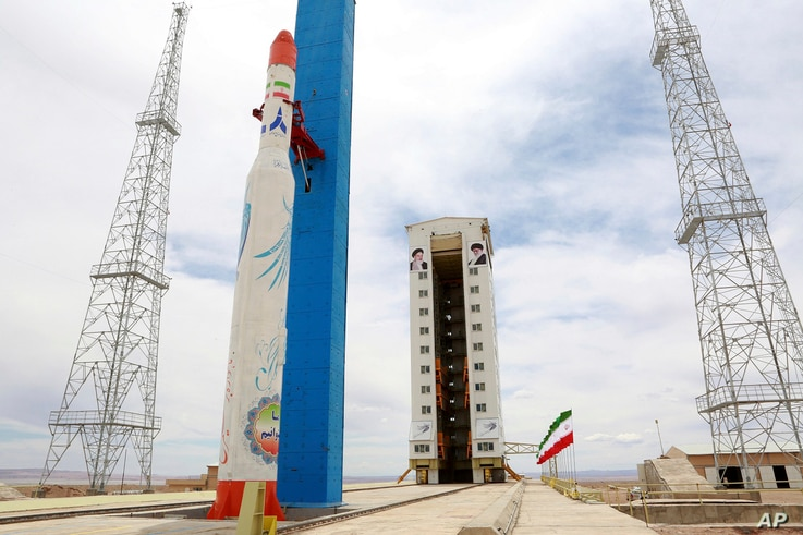 This photo, released by the official website of the Iranian Defense Ministry, July 27, 2017, claims to show the Simorgh satellite-carrying rocket at Imam Khomeini National Space Center in an undisclosed location in Iran.