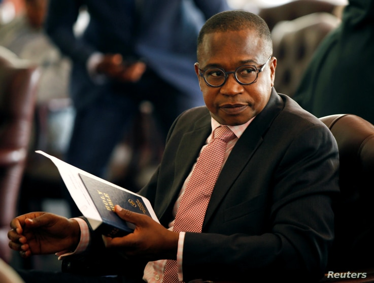 Zimbabwean Finance Minister Mthuli Ncube at State House in Harare, Zimbabwe, Sept. 10, 2018. He says the $53 million set aside for farmers is a stopgap measure.