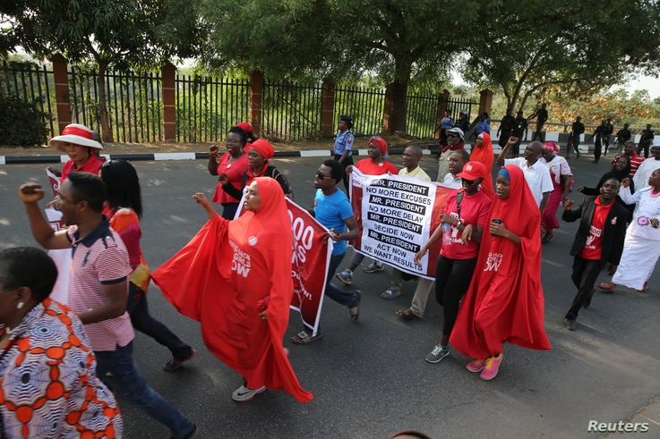 Members of the #BringBackOurGirls campaign rally in Nigeria's capital, Abuja, to mark 1,000 days since over 200 schoolgirls were kidnapped from their secondary school in Chibok by Islamist sect Boko Haram, Jan. 8, 2017.