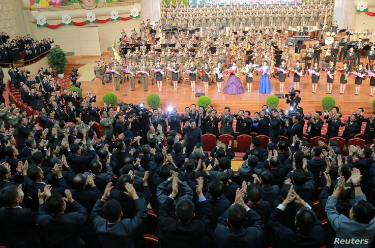 North Korean leader Kim Jong Un reacts during a celebration for nuclear scientists and engineers who contributed to a hydrogen bomb test, in this undated photo released by North Korea's Korean Central News Agency (KCNA) in Pyongyang, Sept. 10, 2017. ...