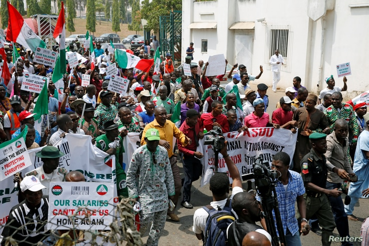Anti-government protesters are seen during a rally in Abuja, Nigeria, Feb. 9, 2017.