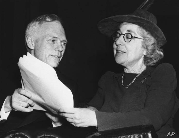 FILE - Jeanette Rankin, the nation's first woman congressman, who voted against America's entry into the world war, appeared before the House Naval Affairs Committee Feb. 2, 1940.