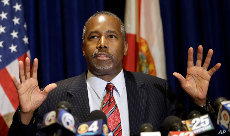 Republican presidential candidate Ben Carson speaks to reporters during a news conference Nov. 6, 2015, in Palm Beach Gardens, Florida.