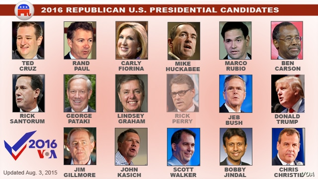 U.S. Republican Presidential Candidates for 2016
