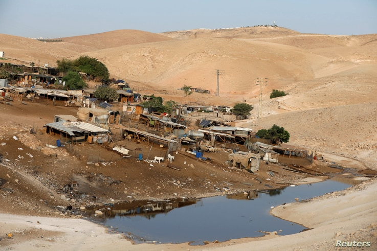 A wastewater pond is seen in the Palestinian Bedouin village of Khan al-Ahmar that Israel plans to demolish, in the occupied West Bank Oct. 2, 2018.