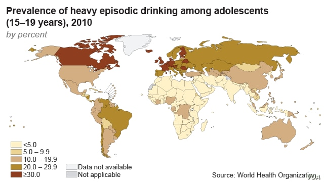 Prevalence of heavy episodic drinking among adolescents (map)
