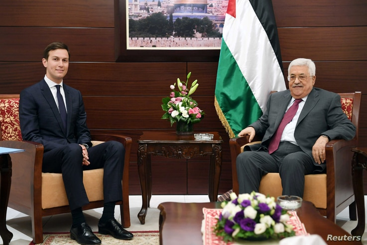 FILE - Palestinian President Mahmoud Abbas meets with White House senior adviser Jared Kushner in the West Bank City of Ramallah, June 21, 2017.