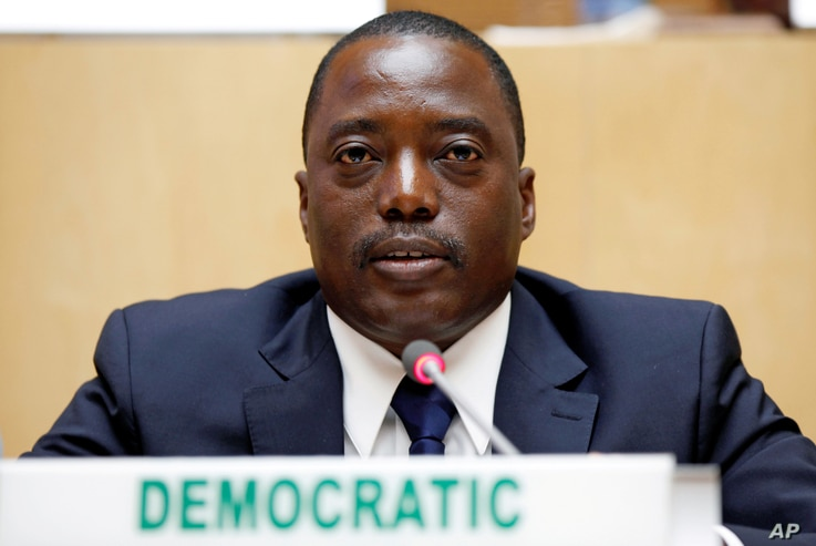 Democratic Republic Congo's President Joseph Kabila attends a meeting  at the African Union Headquarters in Addis Ababa, Ethiopia Feb. 24, 2013. Talks started Tuesday, Dec. 13, 2016, to decide who will run the country after Kabila's second term ends ...